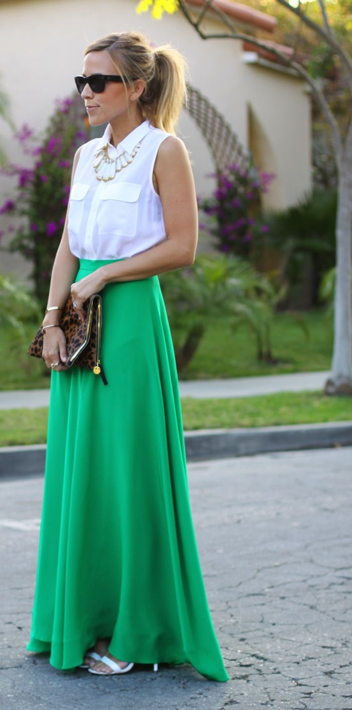 White sleeveless button down, statement necklace, green maxi, white strappy heels and leopard clutch