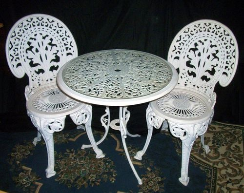Victorian Style Antique Outdoor Table And Chairs Set Patio Furniture Ebay