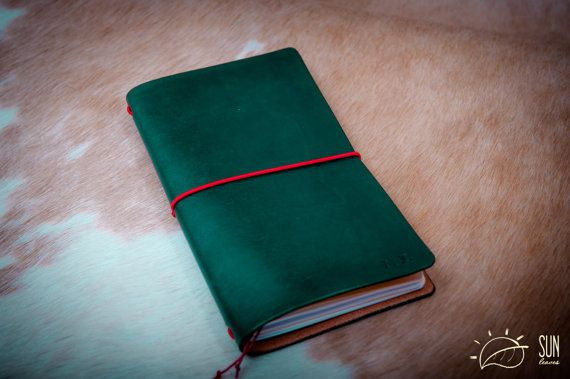 Midori Traveler's Notebook 'Rain forest' FREE Personalized Leather Journal- Planner Cover - FauxDori