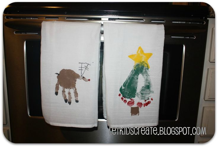 Hand and foot stamped Christmas dish towels:: stocking stuffers for the granfolks