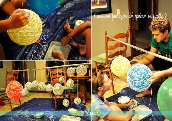 comment fabriquer des boules en corde en ficelle diy d co pinterest belle tables and. Black Bedroom Furniture Sets. Home Design Ideas