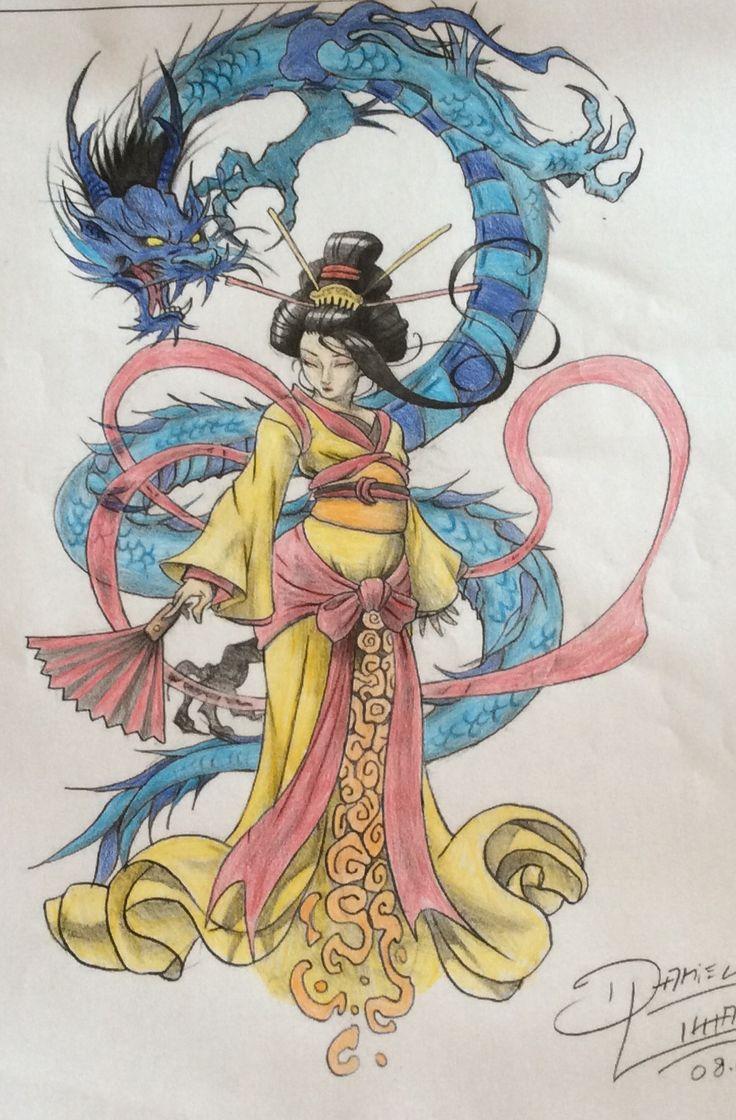 #geisha #art #dragon #japan