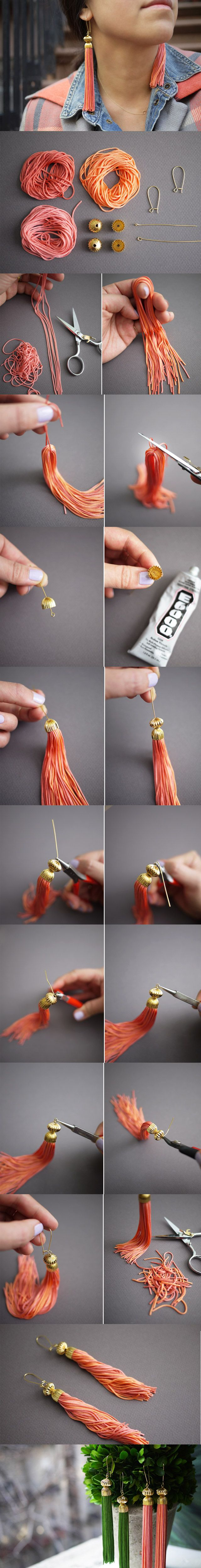 DIY Tassels. I would do these for not earrings but something else