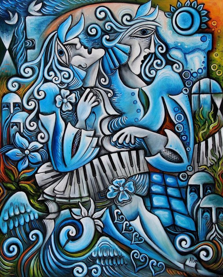 """Blue garden "" Cubist oil painting by Adrian Doni.!! #Cubism"