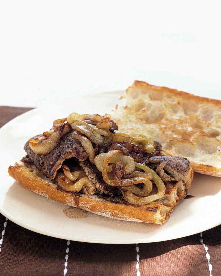 Steak and Onion Sandwiches Recipe   Martha Stewart