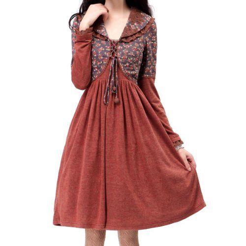 Artka Women's Vintage Anne Handmade Battenburg Lace Combo Dress L Red Brown  Artka http:/
