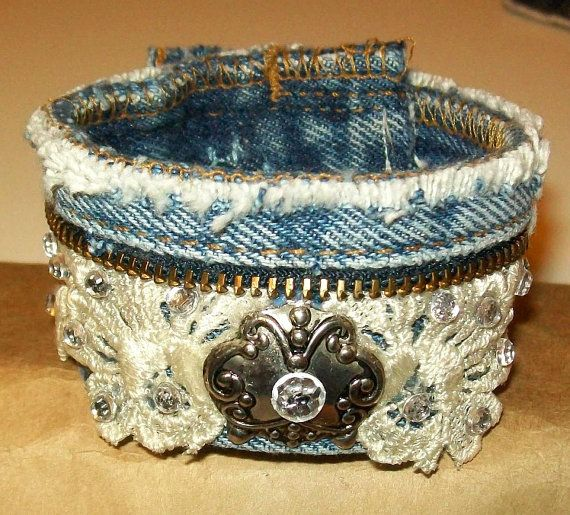 Blue Jean Denim & Lace Cuff Bracelet