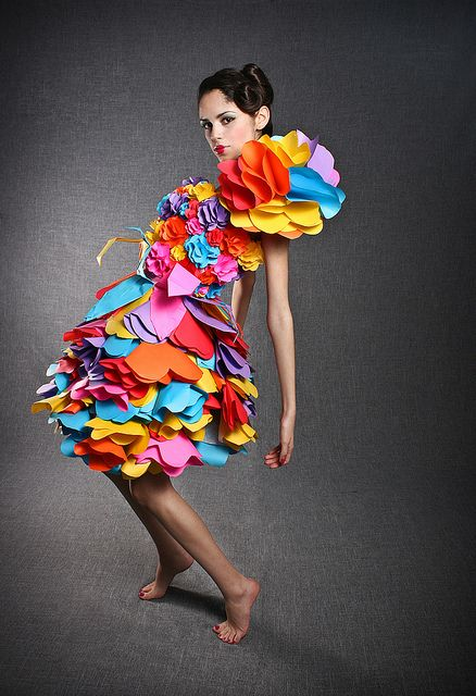 colorful paper dress  Flor de Kawasaki, taken by Ana Luisa 12-9-2009; shared on flickr
