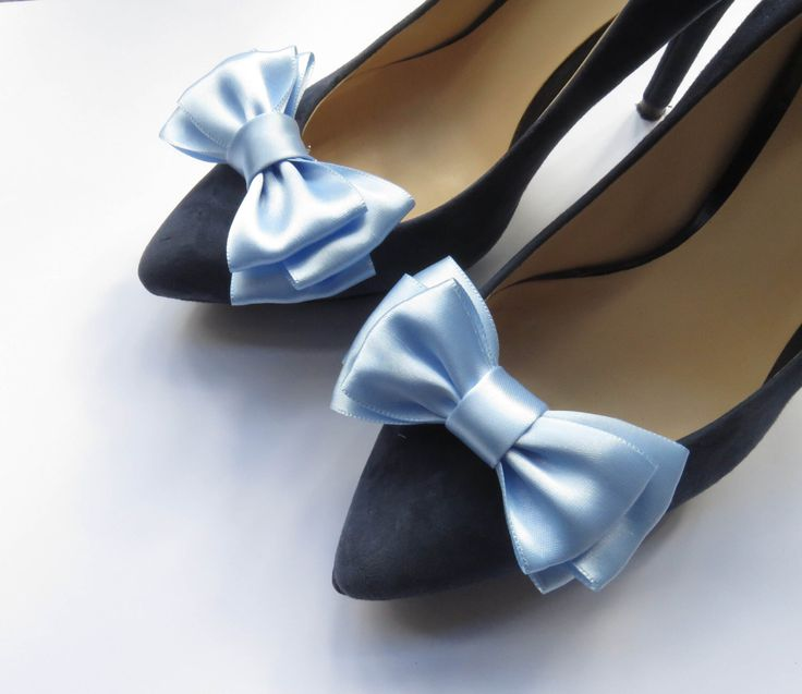 Ice blue/icy blue light blue satin ribbon shoe clips/ a pair of wedding/bridal/bridesmaid shoe clips/ metal clips/bows/in any color by MonnaAmina on Etsy https://www.etsy.com/listing/250925058/ice-blueicy-blue-light-blue-satin-ribbon