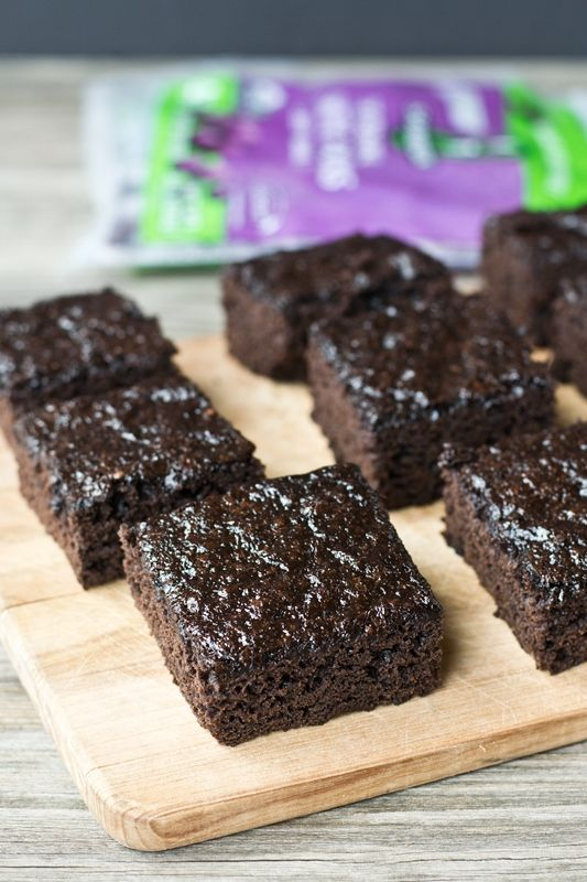 2 Ingredient Acai Brownies using brownie mix and acai smoothie packs to create thick, chocolately, moist brownies     Tastes of Lizzy T