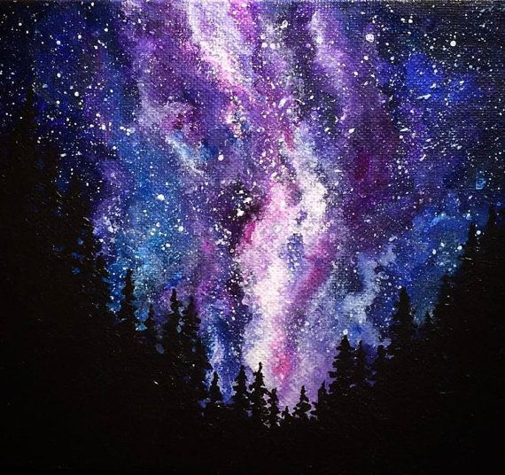 This listing is for an original galaxy painting. Swirls of blue and purple and pink mingle with the flecks of tiny stars against a silhouetted line of trees. It is all hand painted by me and is completely one of a kind. It measures 6x8x1/2 inches and could fit on a wall or shelf. Acrylic on canvas. Please note that due to some monitor settings, the colors may appear slightly different in person.
