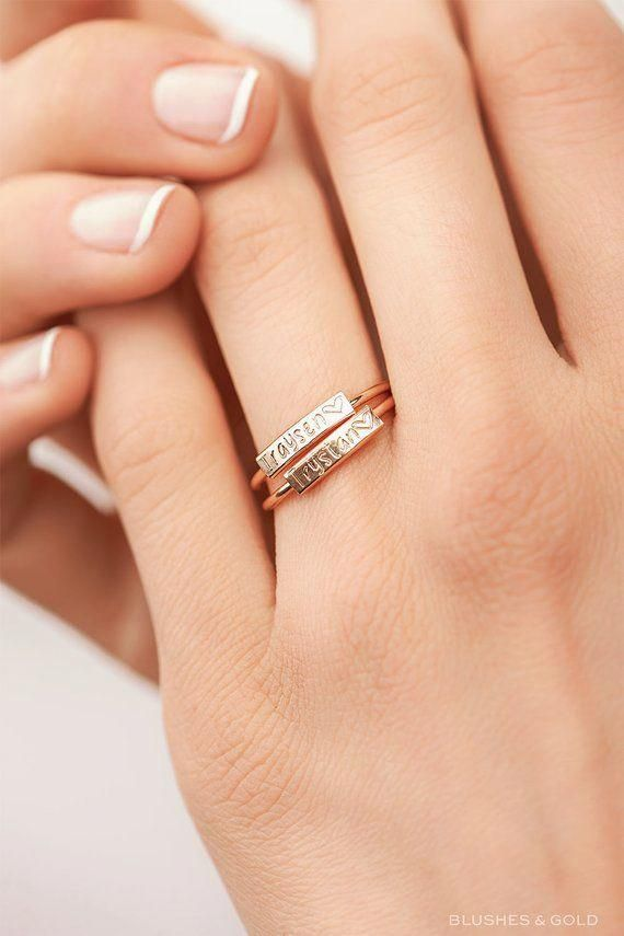 Dainty Personalized Ring Custom Gift For Her Stacking Custom