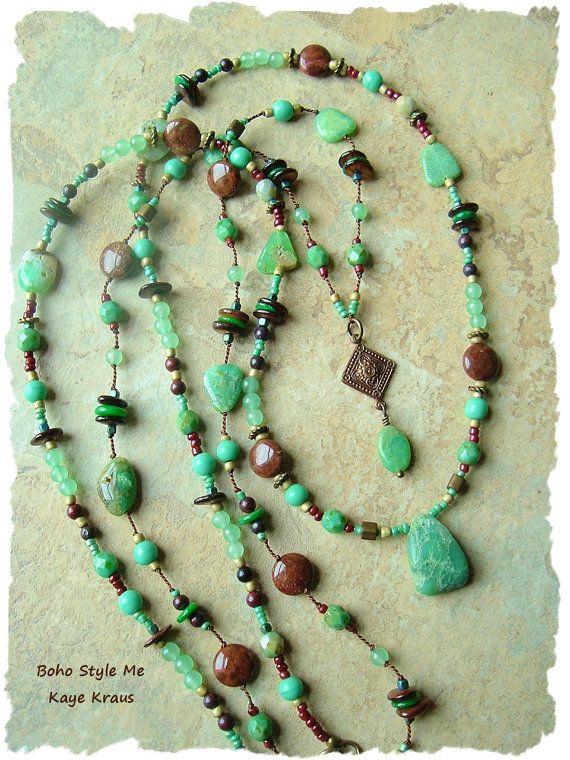 Bohemian Jewelry, Rustic Layered Necklace, Hand Knotted, Mint Chocolate, Hippie Gypsy, BohoStyleMe, Kaye Kraus