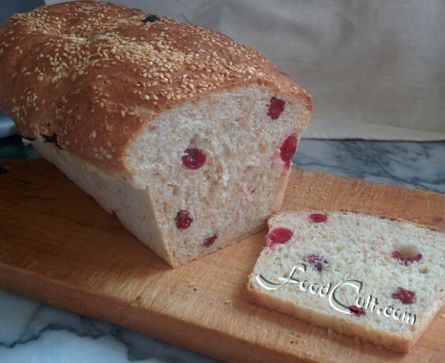 In search of the perfect #sandwich #loaf ... #cranberry- #cashew with a #sesame top and a #healthy dose of #oatbran and #wheatgerm inside.   #sweet and #tangy and #smooth and #crunchy.  The base is #whitebread.  #bread #recipes @ http://www.foodcult.com