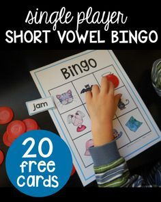 Free short vowel bingo with pictures! Awesome literacy center or guided reading activity for kindergarten or first grade.