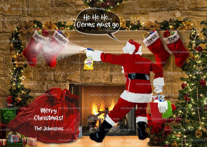 Funny Christmas Card Santa Sanitizing Xmas Stockings 2020 Funny Christmas Cards Christmas Cards Xmas Stockings