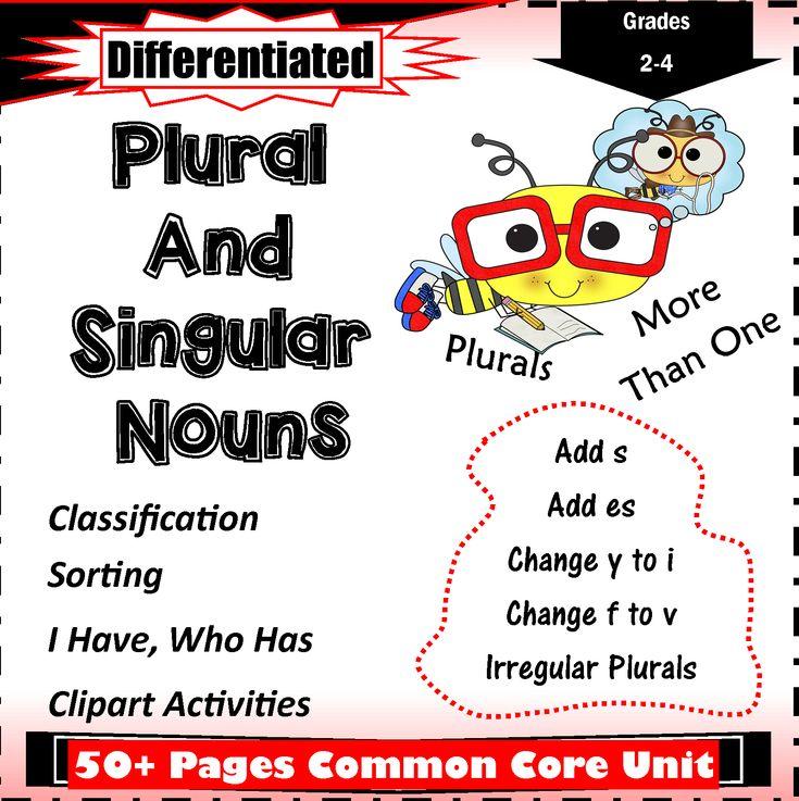 Plural and singular noun worksheets for grade 24 common