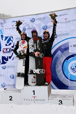 Men's Podium: 2nd: Alex Pullin (AUS), 1st: Seth Wescott (USA), 3rd: Chrisopher Robanske (CAN) 2012 USANA FIS Snowboardcross World Cup in Telluride, CO Final Photo: Sarah Brunson/U.S. Snowboarding