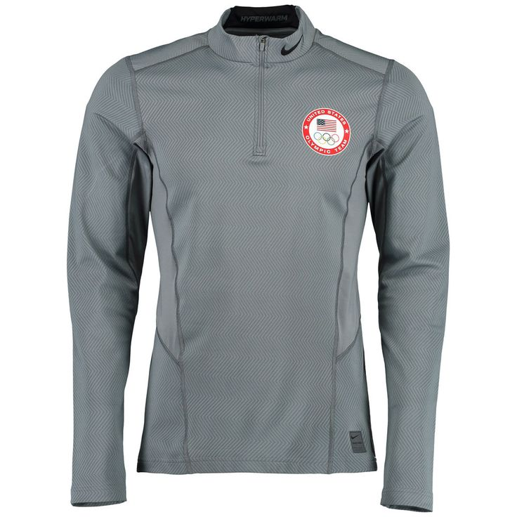 Men's Nike Gray Team USA Hyperwarm 1/4 Zip Performance Pullover Jacket