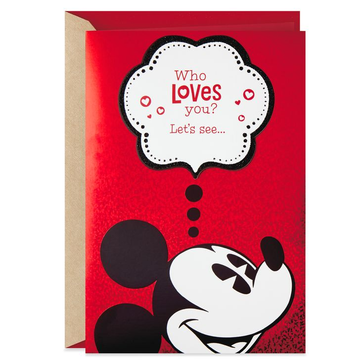 Who Loves You? Mickey Mouse Valentine's Day Card