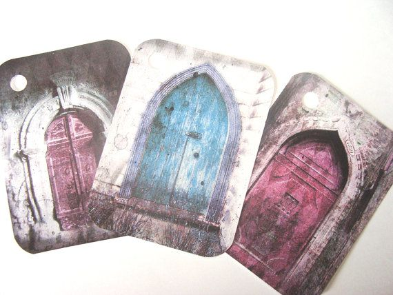 Gothic Door Tags   Set of 6   Painted Door Tags  Blue by SiriusFun