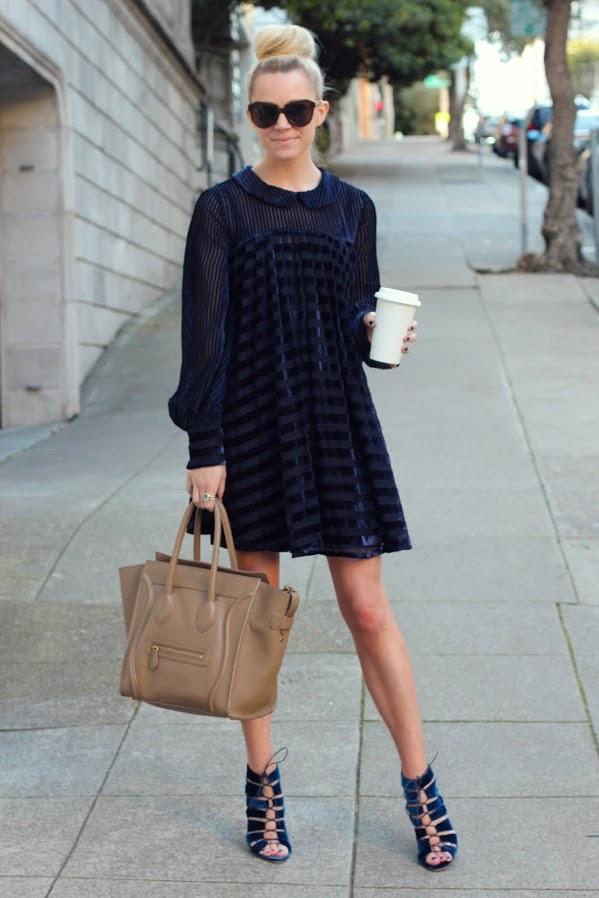 Navy velvet dress topped w /a bun! #street style  Dress: ASOS. Shoes: Loeffler Randall. Purse: Céline #StreetStyle