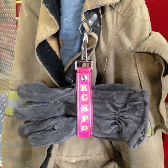 Pink Leather Personalized Firefighter Glove Strap | Sharedy by LION