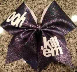 ooh kill 'em Black Iridescent Glitter Cheer Bow