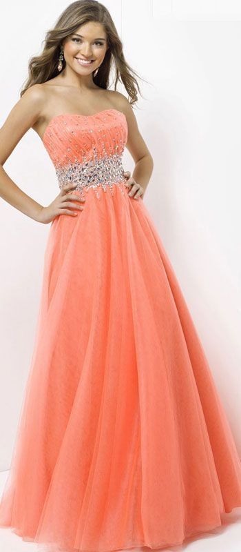 Orange cute prom dresses