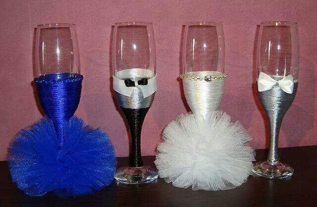 Copas decoradas   Copas para Novios   Pinterest
