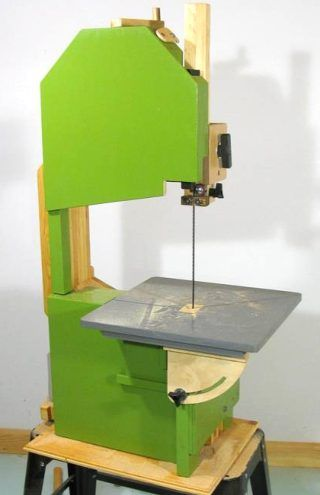 """14"""" DIY Bandsaw from scrap, a few bearings, and a spare furnace fan motor."""