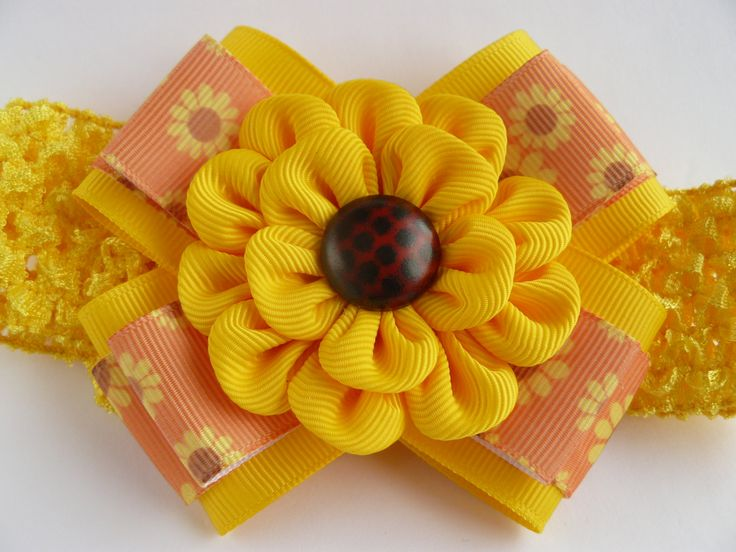 Crochet headband with Kanzashi flower bow/ elastic stretchy hair band for girls toddlers baby- buy in UK, shipping worldwide-sunflowers by MARIASFLOWERPOWER on Etsy