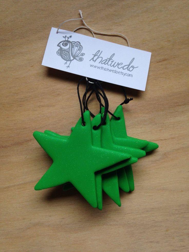 Handmade Christmas Decorations Pack - Green Glitter by ThatWeDo on Etsy https://www.etsy.com/listing/214034670/handmade-christmas-decorations-pack