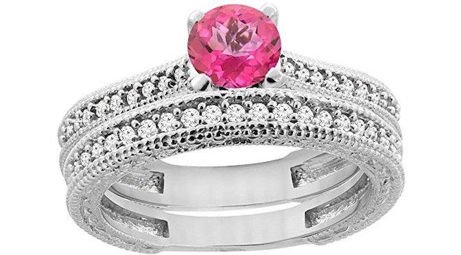 Anillo de compromiso en Oro amarillo de 14 kilates topacio Natural de color rosa | Joyería online, joyas de Plata y Oro.