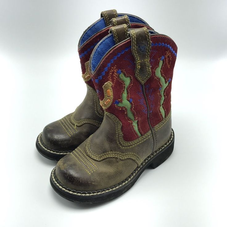 BOYS/YOUTHS ARIAT SZ 9 LEATHER  WESTERN SQUARE TOE Cactus  BOOTS Fatbaby Brown #Ariat #Boots