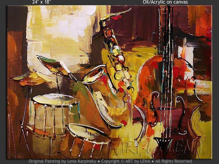 """In The Mood Of Jazz"" - Original Music Art by Lena Karpinsky, http://www.artbylena.com/original-painting/21087/in-the-mood-of-jazz.html"