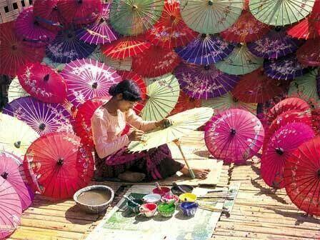 Making Pathein umbrella