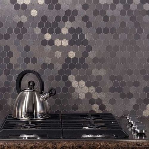 grey shades hexagonal tile splashback