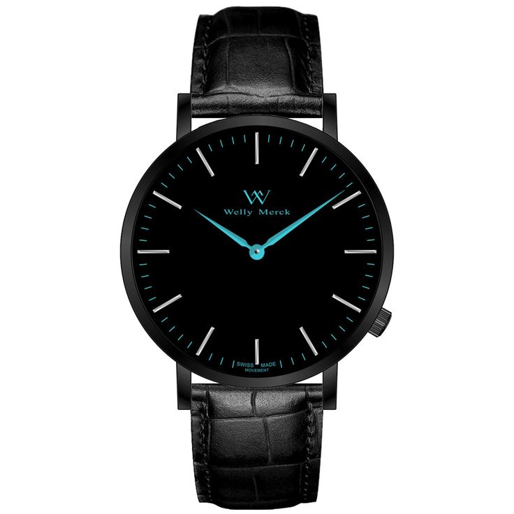 A round black case with classically curved lugs,elegant hue, the deepskyblue hands match the case colors and underscore their prominent design,color-coordinated leather strap, inimitable and upscale watch.