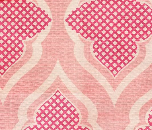 Venecia Linen Fabric A contemporary trellis petterned design in shades of hot pink and white