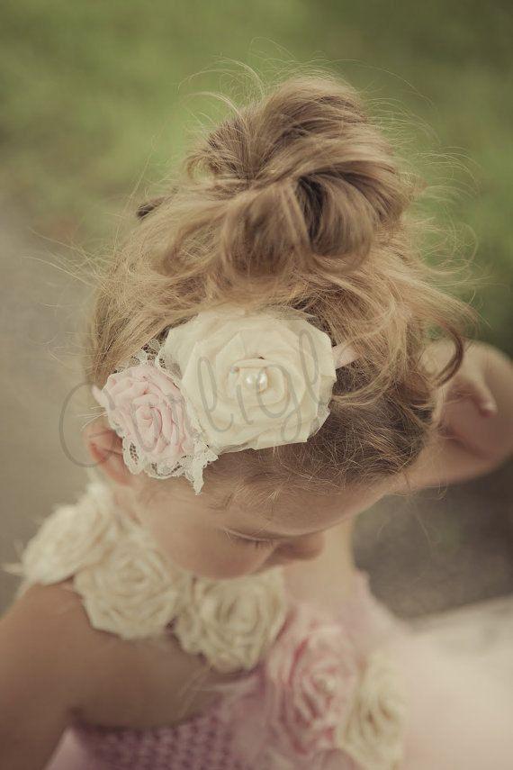 Light Pink and Ivory Flower headband, Vintage, Flower girl headband  for Bella and Madeline!