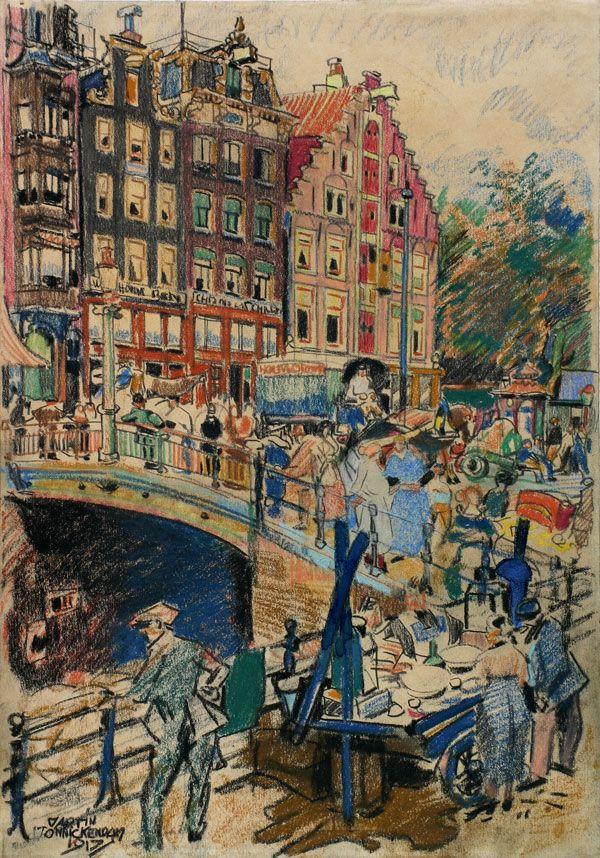 Amsterdam : druk stadsleven op een brug, pastel op papier, Martin Monnickendam, 1917, impressionisme