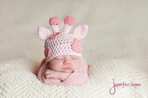 Pink Giraffe Hat Photography Prop Newborn by cuteasababysbutton, $24.00