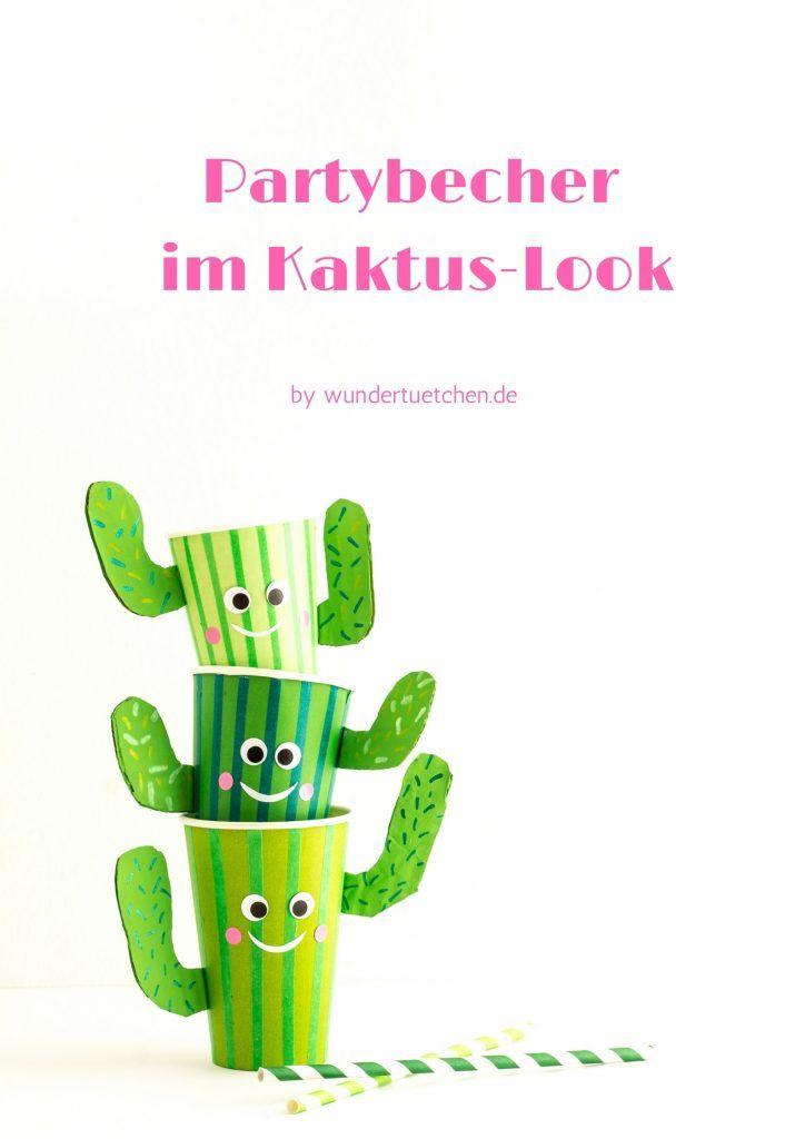 Partybecher im Kaktus-Look