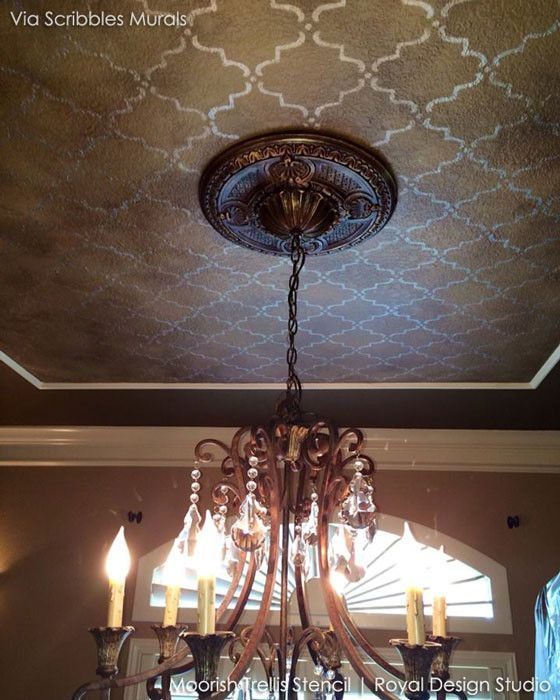 Moroccan Wall Stencils & Floor Stencils for Painting | Royal Design Studio - moorish trellis stencil on the ceiling! what?! :o <3