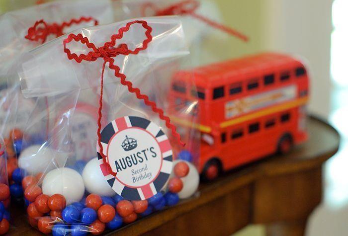 "Party favors at a ""London Calling"" British Themed Birthday Bash via Kara's Party Ideas"