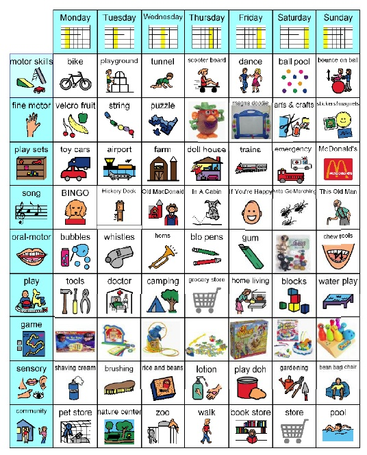 Living Well With Autism - Play Skills and Leisure Activities-Ideas to share with parents; lots of great premade visuals and social stories