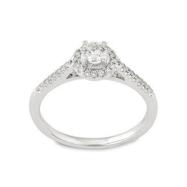 Μοντέρνο δαχτυλίδι Κ18 από λευκόχρυσο σε ροζέτα με κεντρικό διαμάντι και στη γάμπα του δαχτυλιδιού   Μονόπετρα ΤΣΑΛΔΑΡΗΣ στο Χαλάνδρι #μονοπετρο #ροζετα #διαμαντια