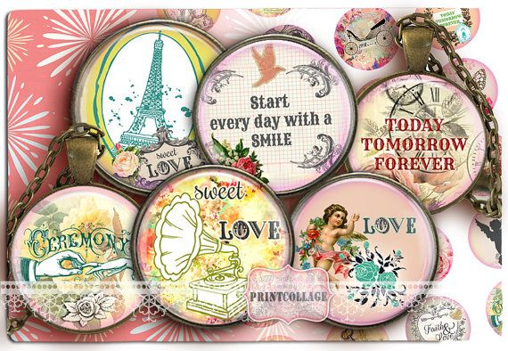 Digital Collage Sheet  Emotions  Cabochon images by PrintCollage