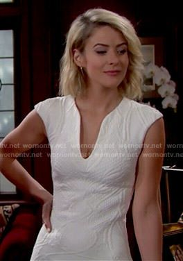 Caroline's white textured dress on The Bold and the Beautiful